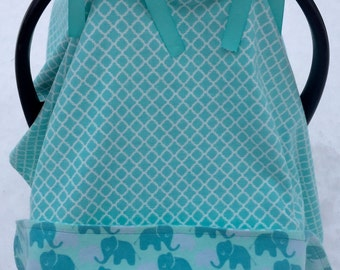 Soft blue, mint green, teal, flannel elephant modern baby car seat canopy