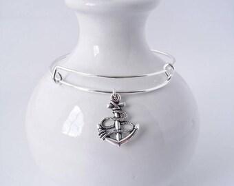 Anchor and rope charm bangle bracelet