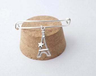 Two Star Eiffel Tower charm bangle bracelet