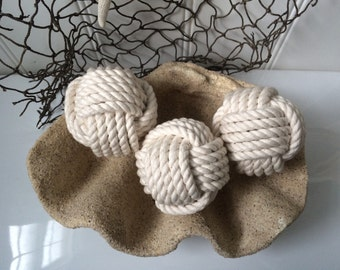 Nautical monkey fist rope knots -  3 cotton decorative knot balls - rope knot balls - coastal home and nursery decor - coastal ornaments