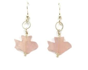 Rose Quartz Earrings, Pink Gemstone Bird Earrings Silver Everyday Earrings, Beaded Jewelry for Women Handmade Jewelry Gift Under 20 for Her