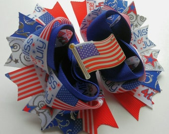Little Miss 4th of July light up hair bow