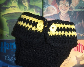 Handmade Hufflepuff diaper cover, newborn Hufflepuff diaper cover, baby diaper cover, newborn Steerlers diaper cover, crochet diaper cover