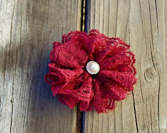Burgundy Lace Flower, Girl's Accessory, Lace Flower, Flower Girl, Photo Prop, Girls Hair Clip, Flower Girl, Easter Flower, Wedding Flower