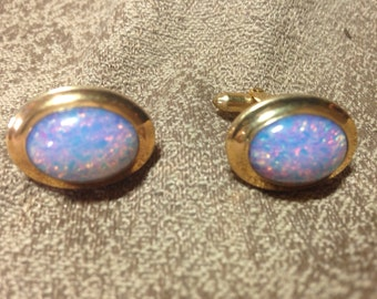vintage opal like shiny iridescent cufflinks