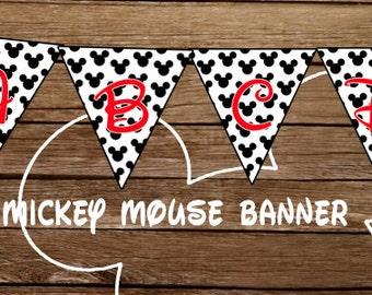 Mickey Mouse Party Banner - CUSTOMIZED - Print At Home