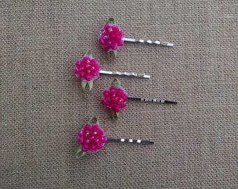 Pink Bobby Pins, Flower Bobby Pins, Women's Bobby Pins, Girls Hair Accessory, Flower Hair Pins, Pink Hair Pins, Girls Bobby Pins, Girls Gift