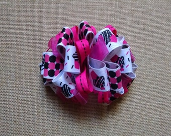 Cupcake Hairbow, Birthday Hairbow, Girls Hair Accessory, Loopy Hairbow, Little Girls Hairbow, Toddler Hairbow, Girls Hairbow, Pink Hairbow
