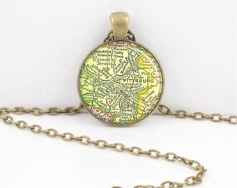Pittsburgh PA Pennsylvania Vintage 1905  Map Pendant Necklace or Key Ring