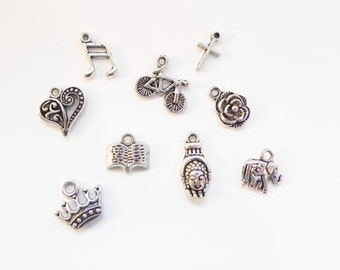Add a Silver Charm to your Pendant Necklace, Bracelet, or Key Ring - Charm Bracelet