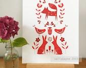 Scandinavian - folk inspired woodland animal A4 print by Sally Payne