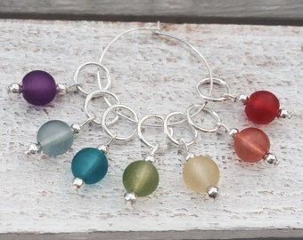 Colours of the Rainbow frosted bead  knitting stitch markers,beaded knitting tools,progress markers,non snag markers
