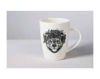 White porcelain mug with a tiger print. Great gift! For your home or cottage.
