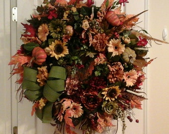 Fall Wreath, Autumn, Thanksgiving Wreath, SHIPPING INCLUDED, Country Bounty Kitchen Wreath, Door Wreath, Mantel Wreath