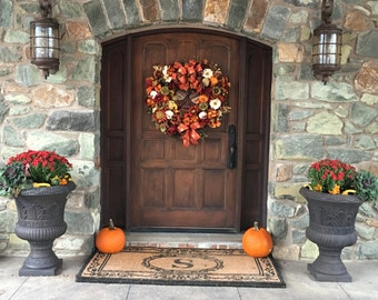 XL Fall Floral Wreath 32-42 Inch,SHIPPING INCLUDED Autumn Harvest Floral Wreath,Grapevine Wreath, Door Wreath, Large Silk Floral Arrangement