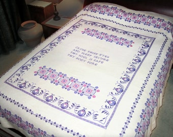 Vintage Hand Embroidered Coverlet Bedspread Bed Cover 100% Linen Monk's Cloth, Geometric Cross Stitch Embroidery Design in Purple Pink CLEAN