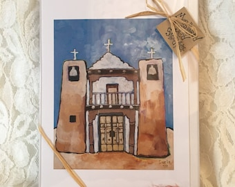 Mission At Taos - (6)  Whimsical Southwestern Print 5 x7 Blank Greeting Cards From Original Artwork