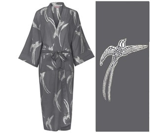 Women's Cotton KIMONO Robe Cotton Dressing Gown, Bathrobe. Lightweight 100% cotton. Hand-printed w/natural dyes One Size: 130cm length.