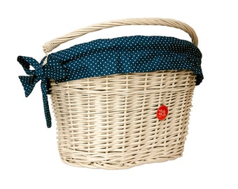 White Wicker Bike Basket Bike Belle with Polka Navy liner