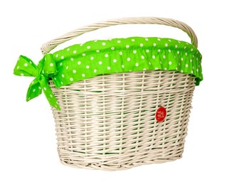 Bicycle Basket Liner, Bike Belle Polka Green