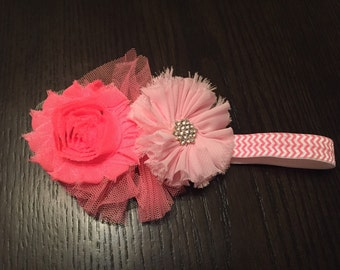 Pink Chevron and Flower Baby Headband