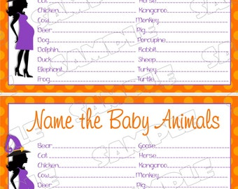 Halloween Baby shower games name the baby animals game Printable INSTANT DOWNLOAD  UPrint  by greenmelonstudios halloween witch baby shower