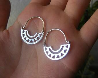 Handmade Silver Hoops Earrings