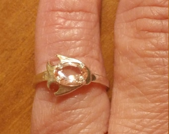 vintage sterling silver light pink cubic zirconia fish ring size 4 12 - Size 4 Wedding Rings