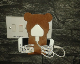Handmade Leather Mobile Phone Charger Holder