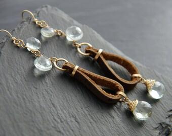Boho, Green Amethyst, Long Dangle Earrings, 14K Gold Fill, Wire Wrapped, Briolette Earrings, Leather Earrings, Gemstone Earrings, Bohemian