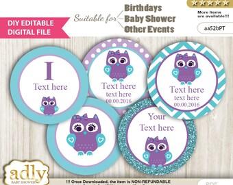 DIY Editable Purple Teal Girl Owl Cupcake Toppers Printable Digital for baby shower, birthday, DIY turquoise,lavender - aa52bPT0ac