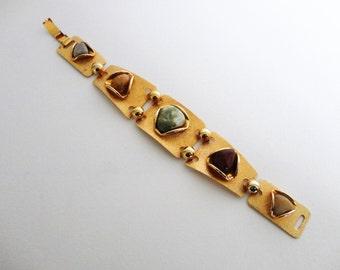 Vintage Modernist Semi Precious Stones Bracelet