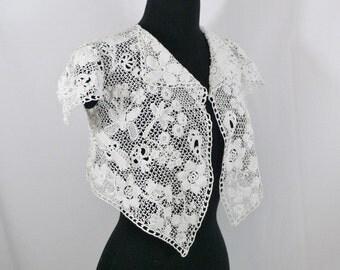 Edwardian Irish Crochet Lace  Jacket- XS - S