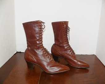 Victorian Edwardian Brown Leather Boots.
