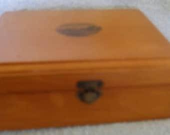 Vintage Wooden Treen MAUCHLINE Transfer Trinket or Dresser Box Esplenade Bognor