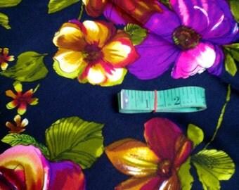 Vintage Poppy Floral & Black Fabric 2+ Yard Unused