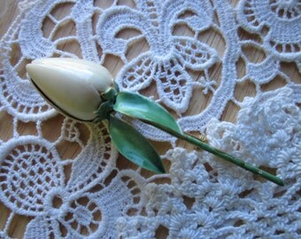 Vintage White Enamel Rose Bud Pin Sandors Co.