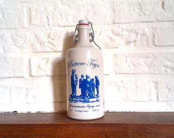 Vintage Ceramic Bottle, MKM  Stoneware,blue image,liquor,0.7l