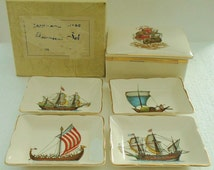 sandland ware countess set set of pin dishes and box nautical ships made in England