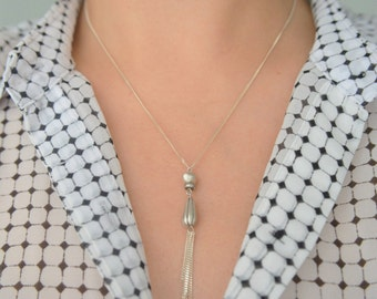 Silver Beads pendant Y necklace, sterling silver Lariat Y necklace, Silver 925 necklace