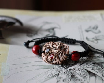 The trademark of the Red Octopus - steampunk Bracelet