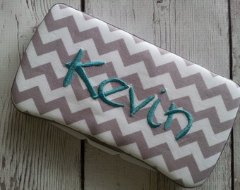 Baby Boy Shower Gift Personalized Appliqued Chevron Travel Wipes Case