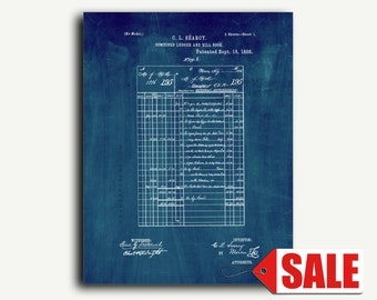 Patent Print - Combined Ledger And Bill Book Patent Wall Art Poster
