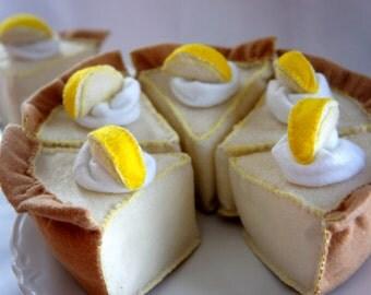 Felt Food Pie, Lemon Cream Pie, Felt Play Food, Felt Tea Party food, Play Kitchen food
