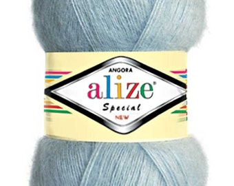 Lot of Worsted Angora Mohair Wool Yarn for Crochet and Knitting - Alize Angora Special New, pack of 5 skein quality Yarn. Free Shipping