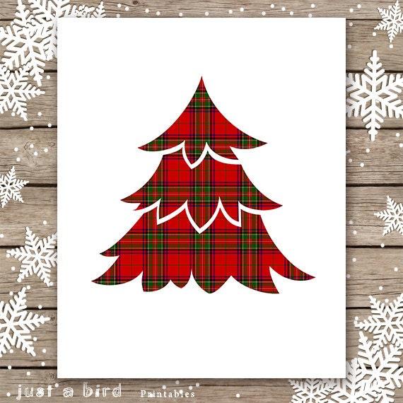 Red Tartan Christmas Printable Red Plaid Christmas Wall Art