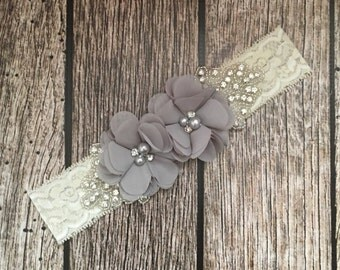 Grey headband, rhinestone headband, flower girl headband, vintage headband, lace headband, rhinestone and pear, flower girl