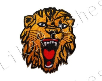 Tiger Head Patch - Tiger Face - Wild Animal New Sew / Iron On Patch Embroidery Applique Size 7.6cm.x9.3cm.