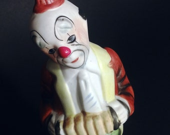 Musician Clown Statue - Clown Playing Accordion - Porcelain Character - French Decor 1970 - Clown Collection - China Biscuit