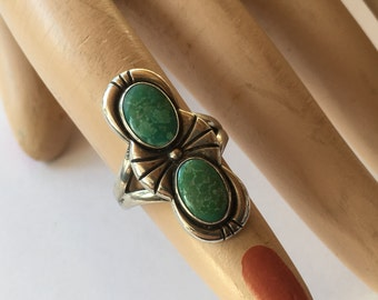Vintage Large Navajo Sterling Silver and Turquoise Ladies Ring